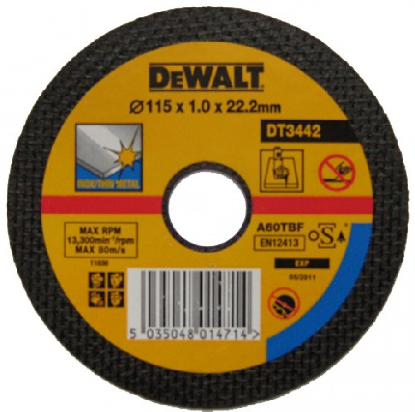 DEWALT DT3442-QZ 115mm x 1mm, 22.2mm Bore, Thin Metal Cutting Disc