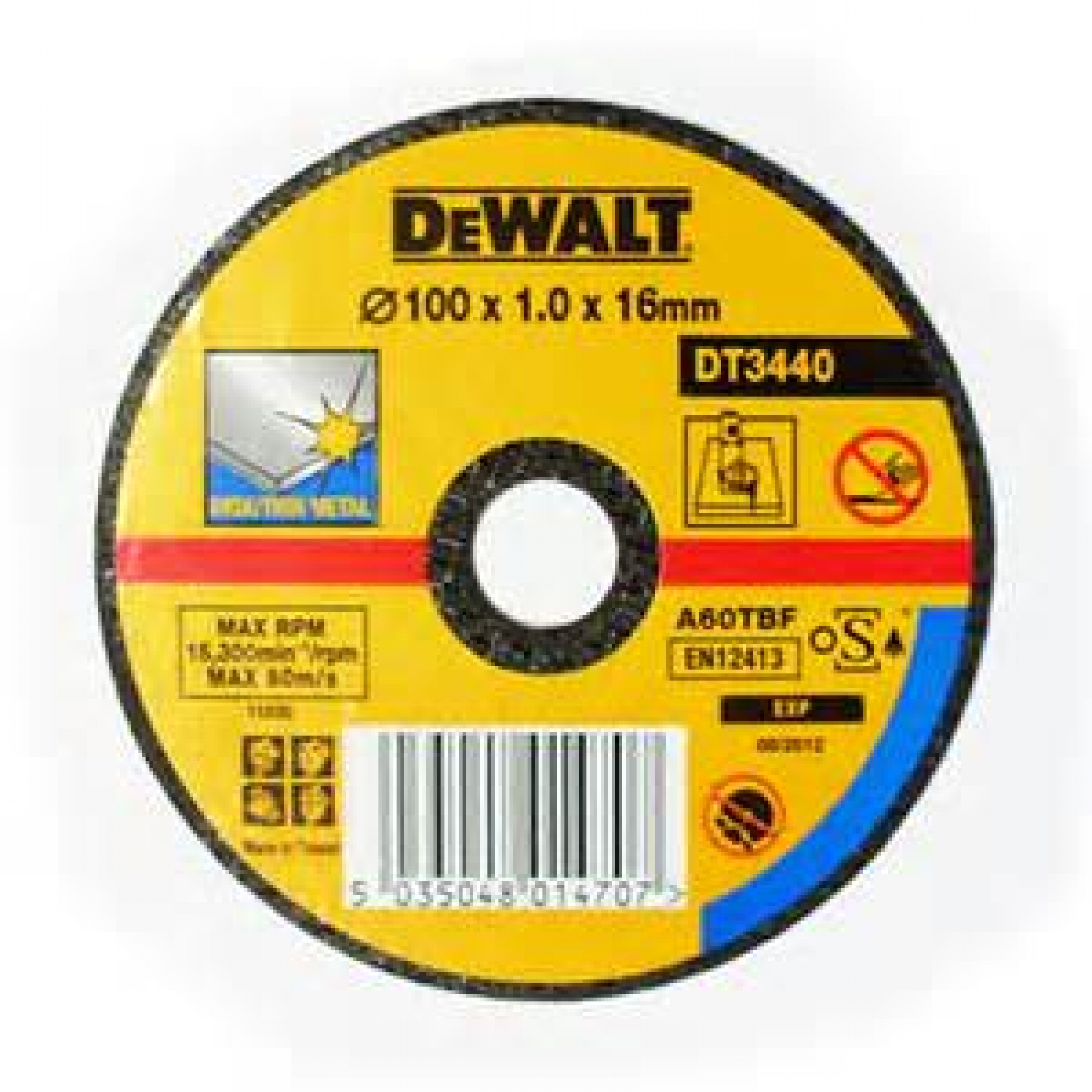 DEWALT DT3440-QZ 100 mm x 16mm Bore Thin Metal Cutting Disc